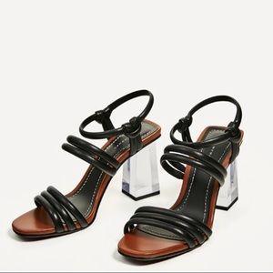 Zara Strappy Square Toe Methacrylate Chunky Heels